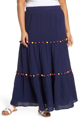 606666a75c Caslon Tiered Pompom Cotton Maxi Skirt