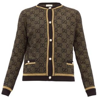 Gucci Lame Gg Jacquard Wool Blend Cardigan - Womens - Black Gold