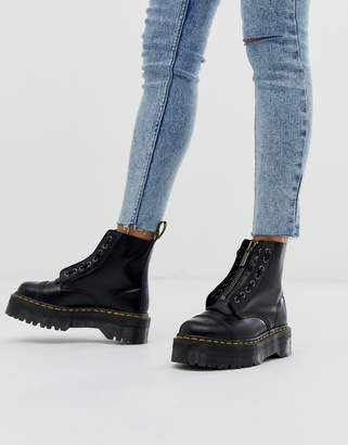 Dr. Martens Sinclair Black Leather Zip Chunky Flatform Boots
