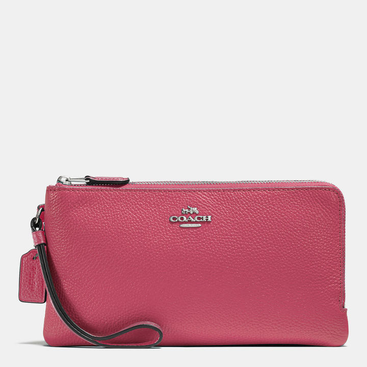 Coach   COACH Coach Double Zip Wallet In Colorblock Leather