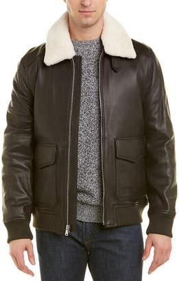 Michael Kors Stoddard Leather Flight Jacket