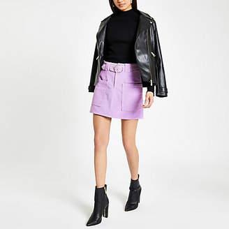 River Island Purple belted cord mini skirt