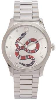 Gucci Timeless Stainless Steel Snake Face Watch - Womens - Silver
