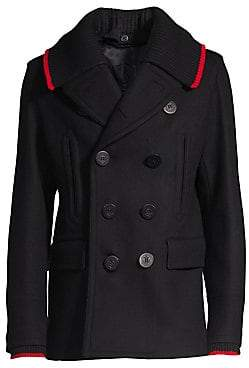 Burberry Men's Removable Rib-Knit Collar Wool& Cashmere Double-Breasted Peacoat