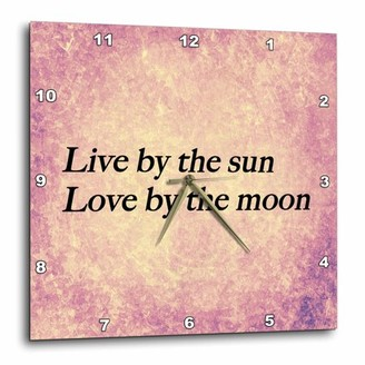 3dRose Live by the sun, Love by the moon expression, pink, purple warm background, Wall Clock, 15 by 15-inch