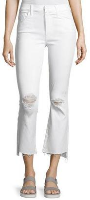 Mother Denim Insider Cropp Step Fray Distressed Jeans, White $208 thestylecure.com