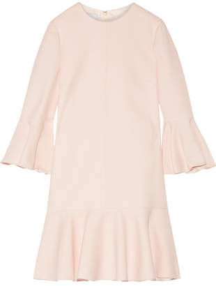 Valentino Fluted Wool And Silk-blend Mini Dress - Pastel pink
