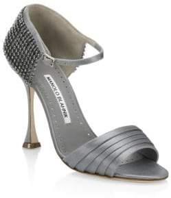 Manolo Blahnik Sidina Crystal Satin Sandals