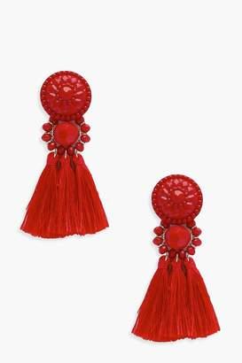 boohoo Floral Tassel Bead Statement Earrings