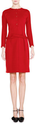 Giorgio Armani Long-Sleeve Henley Shirtdress, Red $1,195 thestylecure.com