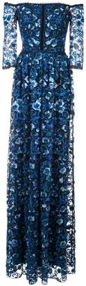 Marchesa off-the-shoulder floral-print gown