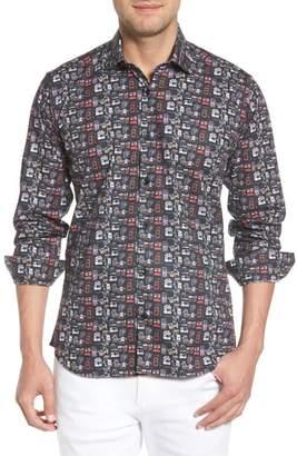 Jared Lang Camera Print Long Sleeve Sport Shirt