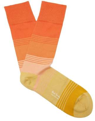 Paul Smith Striped Cotton Blend Socks - Mens - Orange