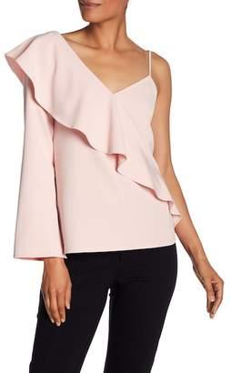 Laundry by Shelli Segal Asymmetrical Ruffle Sleeve Blouse
