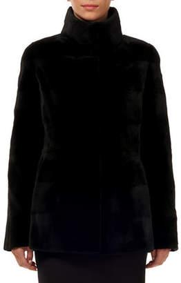 Gorski Reversible Horizontal Sheared Mink Silk Taffeta Jacket
