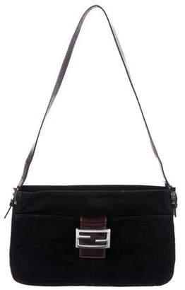 Fendi Suede Logo Shoulder Bag