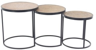 DecMode Decmode Modern 16, 18 and 20 Inch Round Wood and Metal Nesting Tables - Set of 3