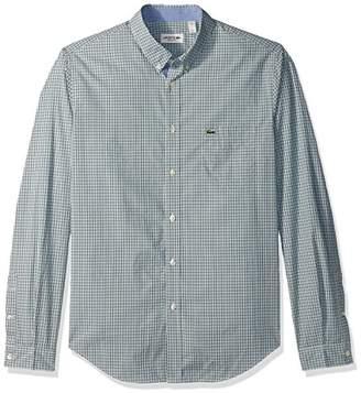 Lacoste Men's Long Sleeve Poplin Check Regular Fit Woven Shirt