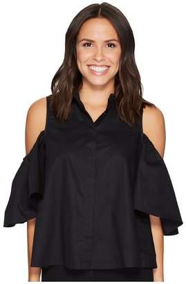 Catherine Malandrino Cold Shoulder Collared Shirt Women's Clothing