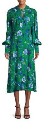 Erdem Floral-Print Long-Sleeve Midi Dress