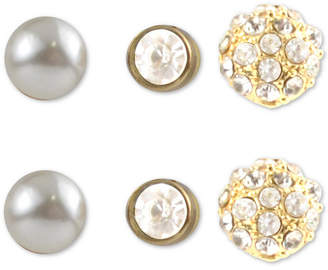Charter Club Gold-Tone 3-Pc. Set Crystal & Imitation Pearl Stud Earrings, Created for Macy's