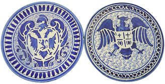 One Kings Lane Vintage French Coat of Arms Wall Plates - Set of 2 - Rose Victoria