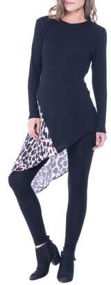 Olian Leah Animal Print Side Tie Maternity Top