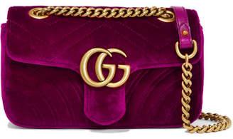 Gucci Gg Marmont Mini Quilted Velvet Shoulder Bag - Magenta