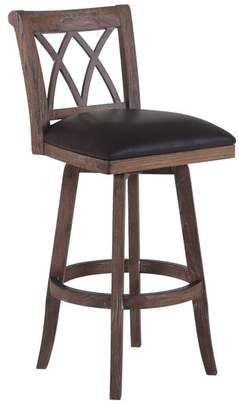 Armen Living Sonoma Swivel Wood Stool, Brown With Wire-Brushed Brown Wood