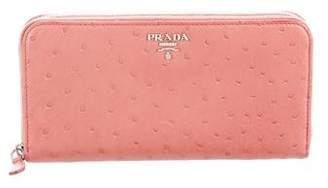 Prada Struzzo Zip-Around Wallet