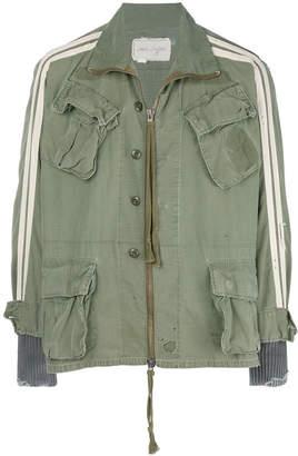 Greg Lauren pocket front bomber jacket with patchwork detail