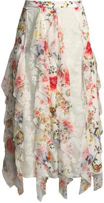 Alice + Olivia Yula Lace Godet Skirt with Floral-Print Ruffled Frills
