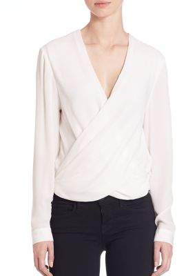 L'Agence Silk Snap-Back Blouse