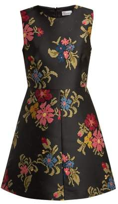 RED Valentino Floral Jacquard Dress - Womens - Black Multi
