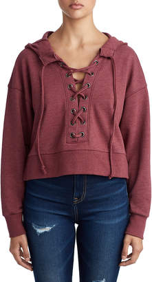 True Religion WOMENS CROPPED LACE UP PULLOVER HOODIE