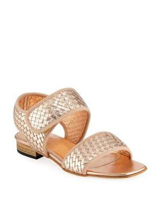 Sesto Meucci Gryta Woven Metallic Napa Leather Flat Sandal