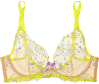 Agent Provocateur Kaylie Embroidered Tulle Underwired Bra - Yellow