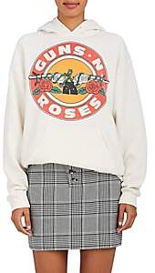 "N. Madeworn Women's ""Guns Roses"" Cotton-Blend Hoodie - Dirty White"