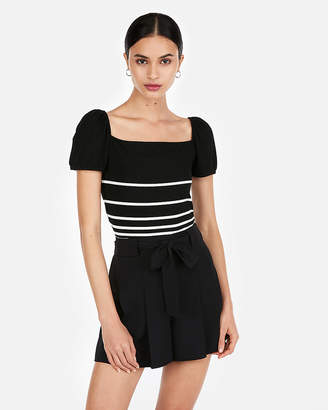 Express Stripe Ribbed Square Neck Puff Sleeve Tee