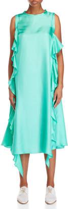 Alysi Mint Green Ruffled Silk Maxi Dress
