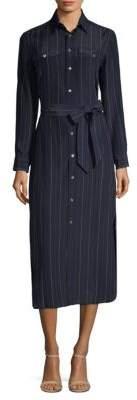 Polo Ralph Lauren Pinstripe Silk Maxi Shirtdress