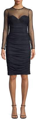 Eliza J Mesh Shirred Sheath Dress