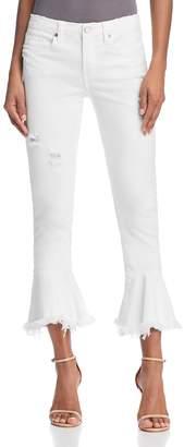 Blank NYC Blanknyc Ruffle-Hem Distressed Skinny Jeans in Great White