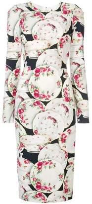 Dolce & Gabbana Rose Plates Printed Dress