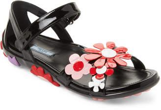 Prada Orange Floral-Applique Leather Sandals