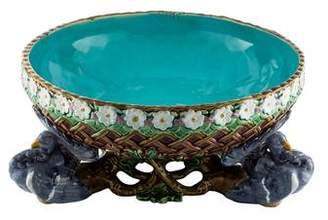 Minton Majolica Fan Tailed Bird Centerpiece Bowl