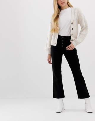Miss Selfridge cropped flared jeans in black