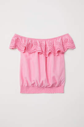 H&M Blouse with Eyelet Embroidery - Pink