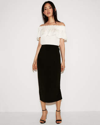 Express High Waisted Midi Pencil Skirt
