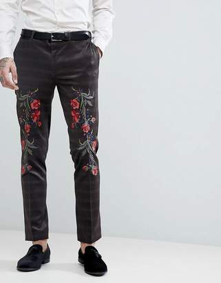 Asos DESIGN Skinny Velvet Check Suit Pants With Floral Embroidery